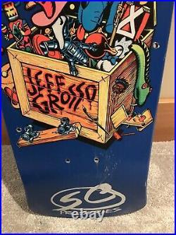 NOS vintage Jeff Grosso Toy Box Santa Cruz Skateboard deck rare blue dip Roskopp
