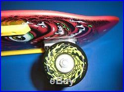 RED Santa Cruz old school complete skateboard deck Roskopp Face 9.5 x 31