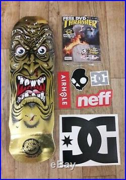 Rare Rob Roskopp Santa Cruz Face Gold Foil Skateboard w THRASHER KOTR DVD Natas