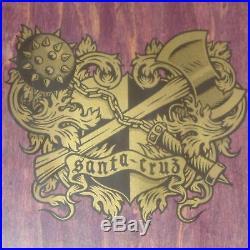 SANTA CRUZ Coat of Arms Soren Aaby Skateboard Deck NOS PURPLE 1989 Original