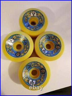 Santa Cruz Bullet 66mm 92a Skateboard Wheels Vintage NOS Yellow ORIGINALS 1980s