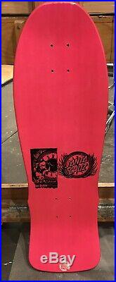 Santa Cruz Clause Grabke NOS Vintage Skateboard Deck. Pink