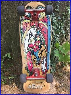 Santa Cruz Vintage Skateboard Deck & Wheels Klaus Grabke 1980's Melting Clocks