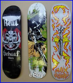 VINTAGE SKATEBOARD MAX SCHAAF 3 deck set REAL KROOKED Santa Cruz Think