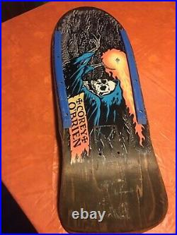 Vintage 1980's Santa Cruz Corey O'Brien Reaper skateboard deck dark gray/green