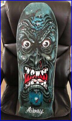 Vintage 1988 1980s Santa Cruz Blacktop Roskopp Face Skateboard Deck Blue Stain
