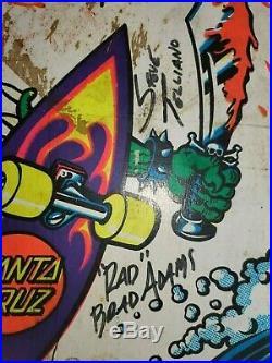 Vintage Autographed Santa Cruz Slasher Skateboard Deck Complete Oj II 90