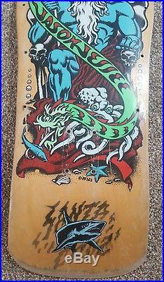 Vintage Santa Cruz Jason Jessee Neptune Shark Tail Skateboard 1988 Very Rare